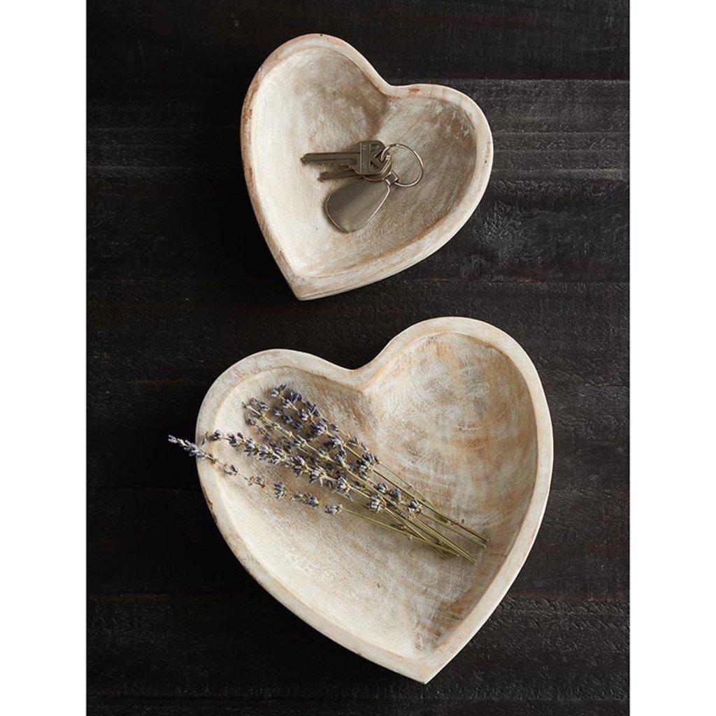 Small Whitewash Heart Bowl
