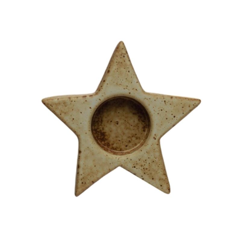 Stoneware Star Tealight Holder
