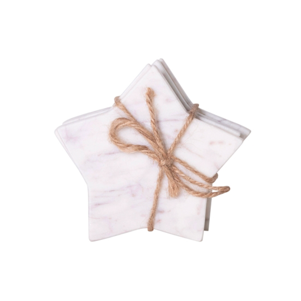 White Marble Star Coasters