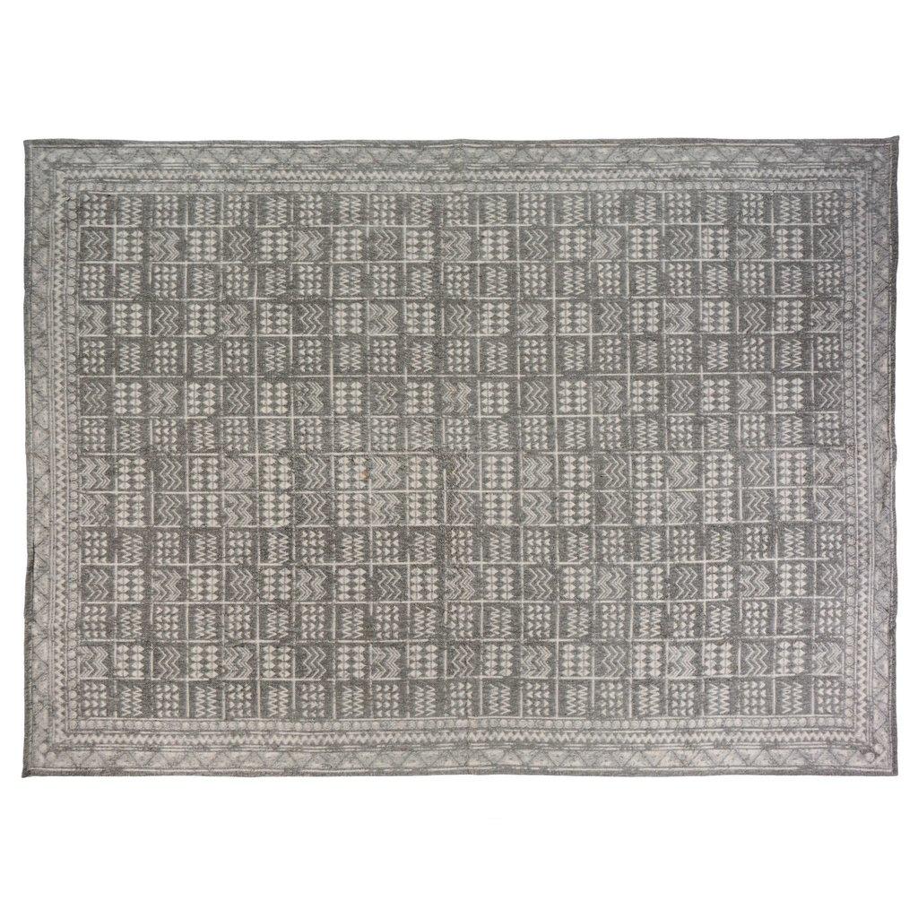 Brushed Grey Aztec Rug