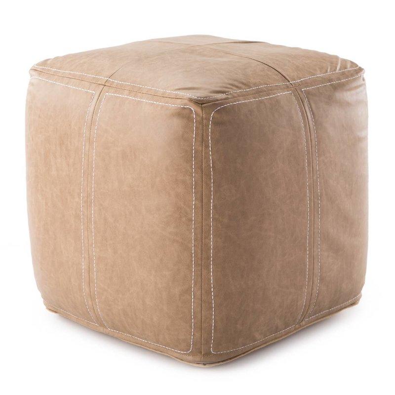 Ultra Faux Leather Pouf