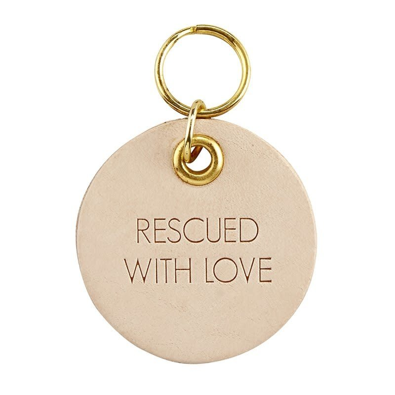 Rescued Leather Pet Tag