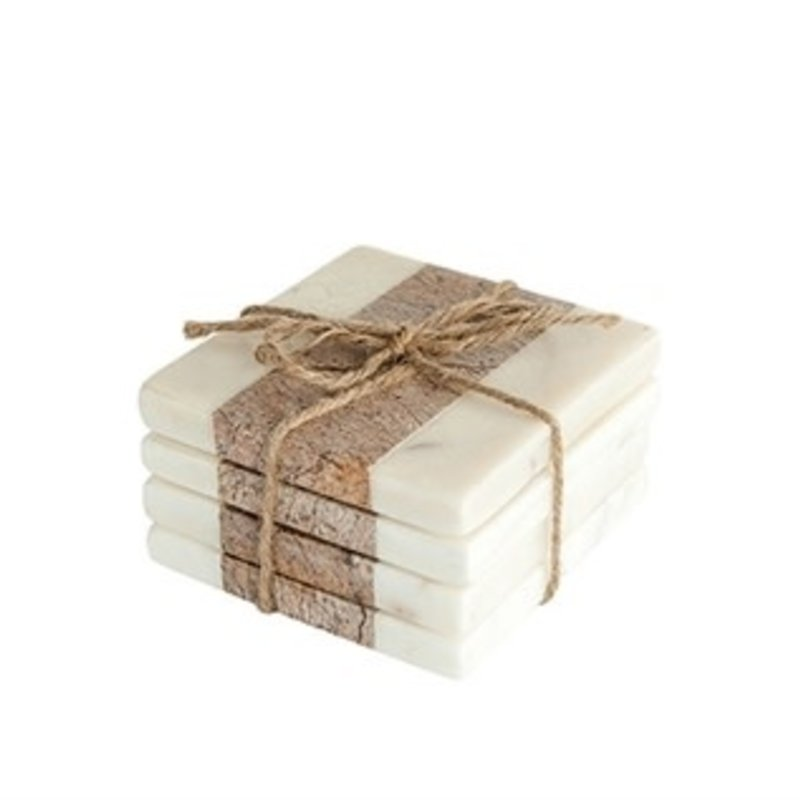 White & Natural Marble Coasters