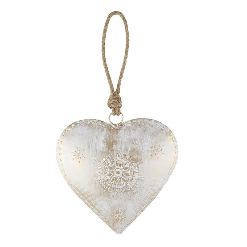 White Metal Heart Accent