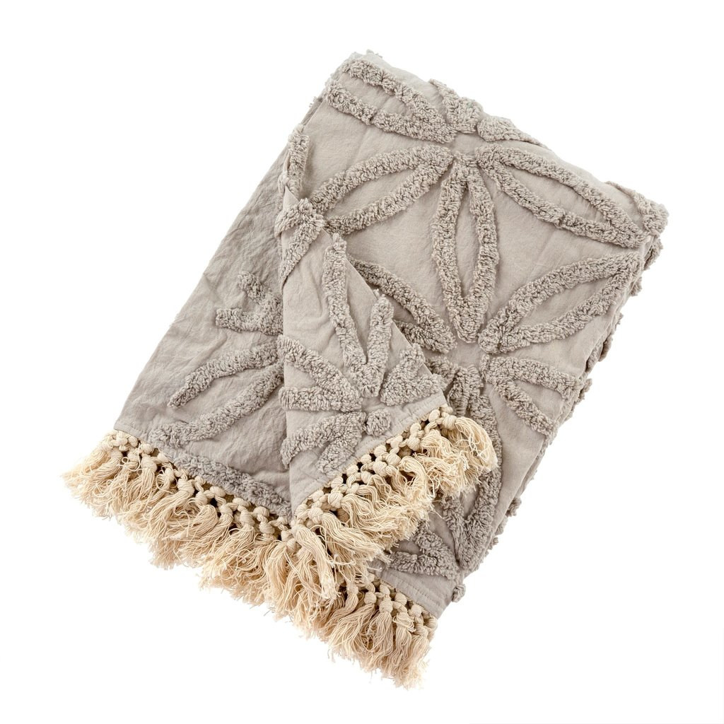 Tufted Taupe Throw