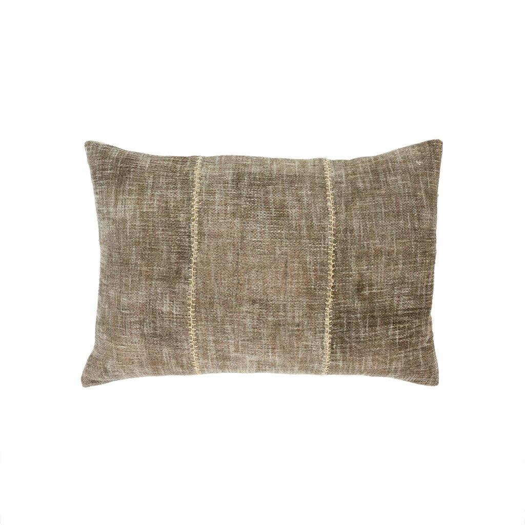 Olive Stonewash Stitch Pillow