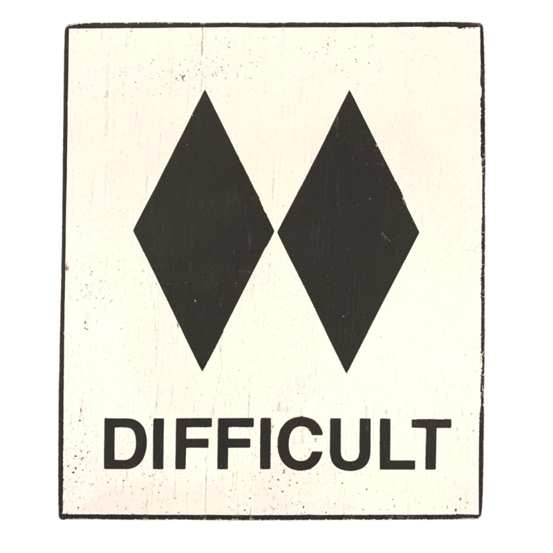 Difficult Wood Ski Sign