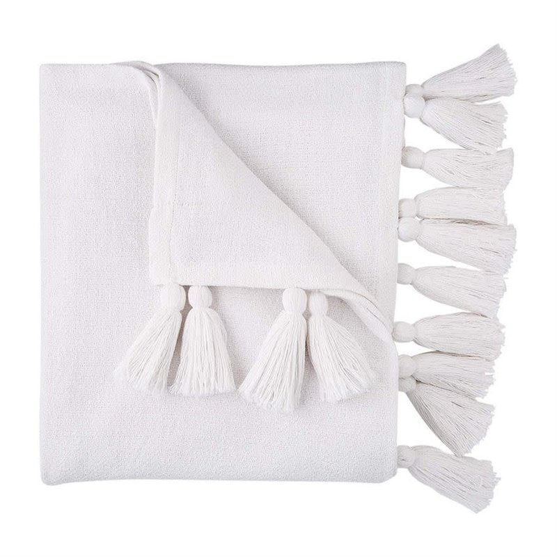 White Woven Throw