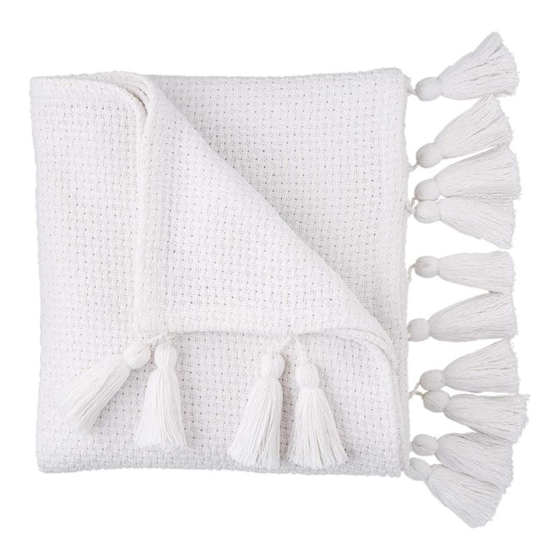 White Basket Weave Throw
