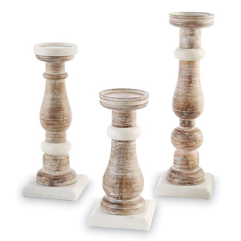 Marble + Wood Candlesticks