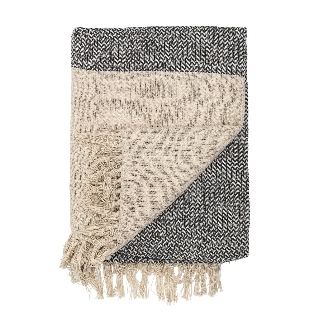 Recycled Cotton Knit Fringe Throw