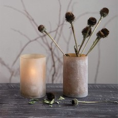 Amber Distressed Frosted Glass Votive