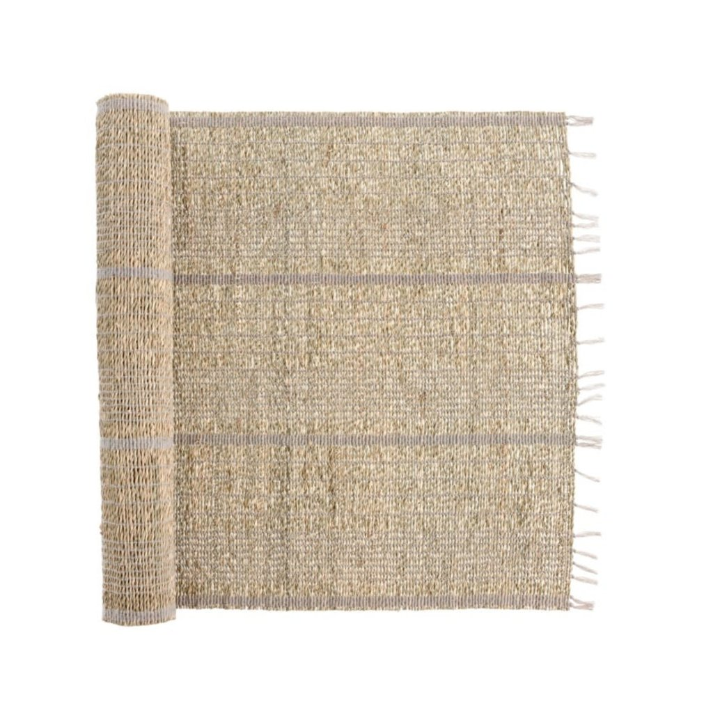 Grey Striped Seagrass Table Runner
