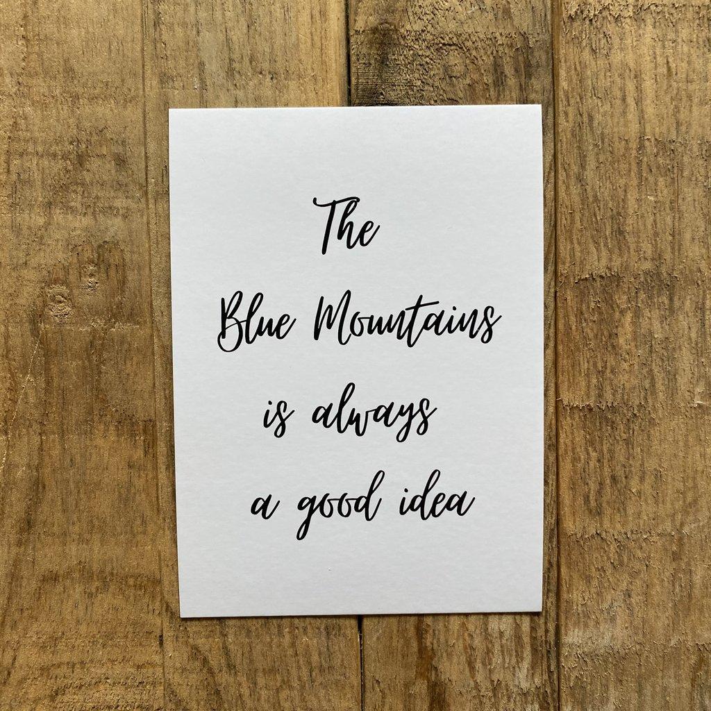 Blue Mountains is... Script Postcard