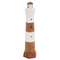 "17"" Natural Wood Lighthouse"