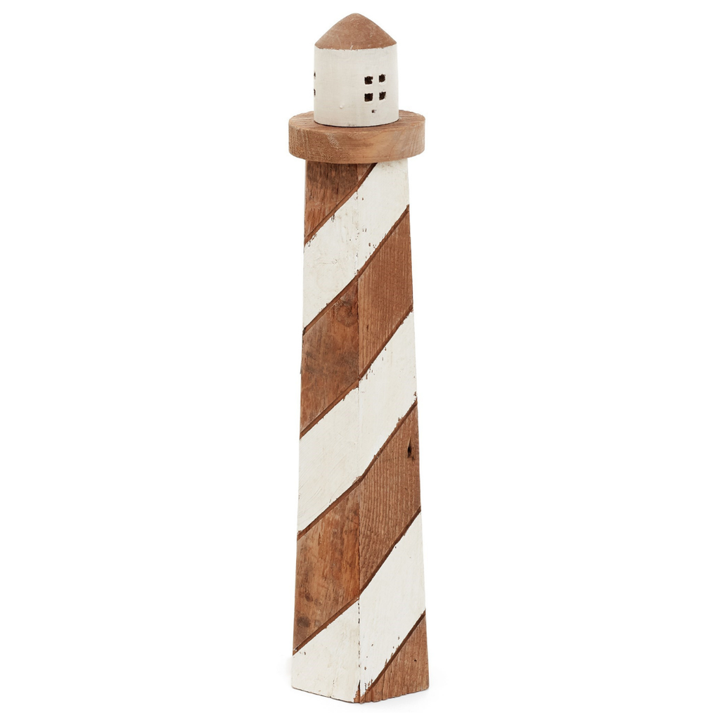 "20"" Natural Wood Lighthouse"