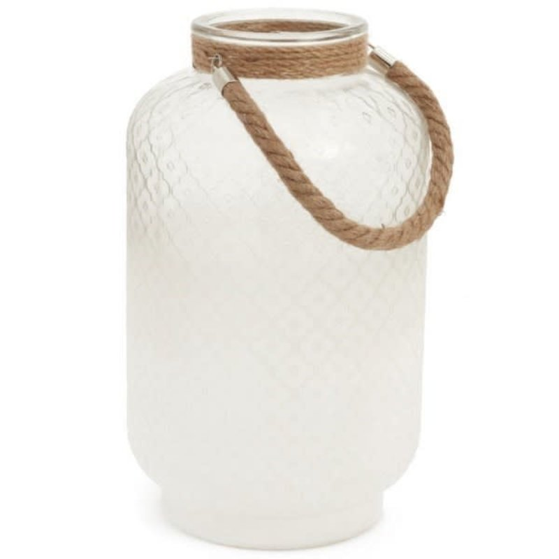 "16"" Sand Glass Lantern with Jute"