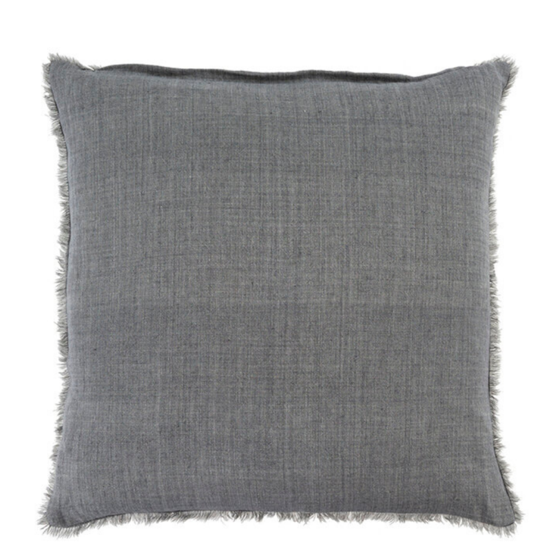 Steel Grey Lina Linen Pillow