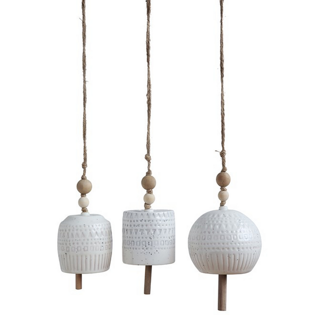 White Stoneware Bells
