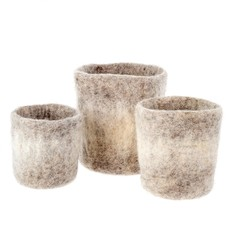 Felt Ombre Grey Pot Set