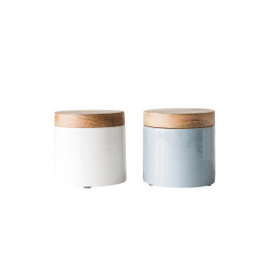 Enamel and Wood Canisters