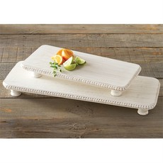 White Beaded Serving Boards