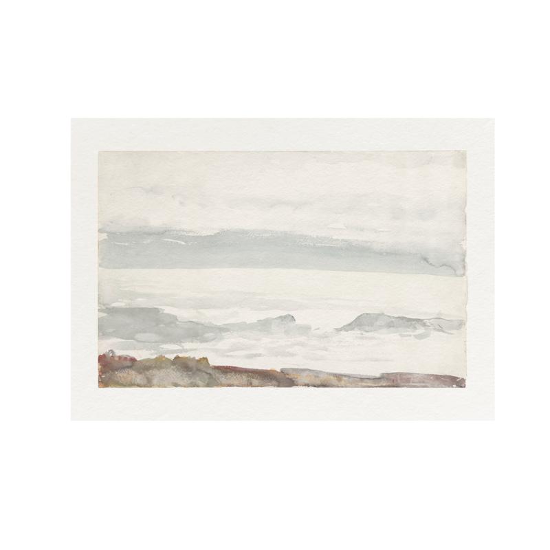 Framed Bordered Coastal Watercolour