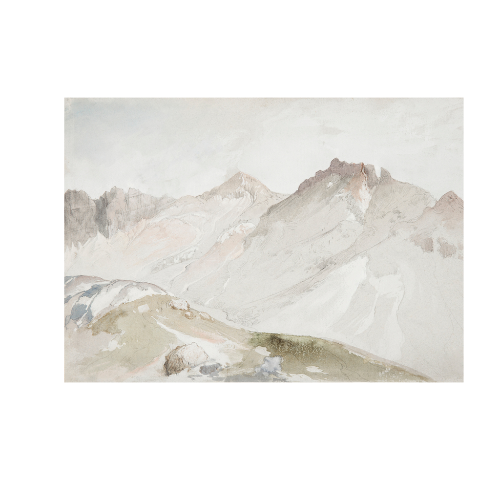 Framed Muted Mountainscape Print