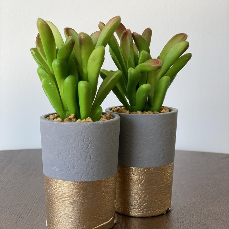 Grey and Gold Potted Faux Succulent