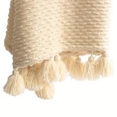 Cream Boucle Woven Throw