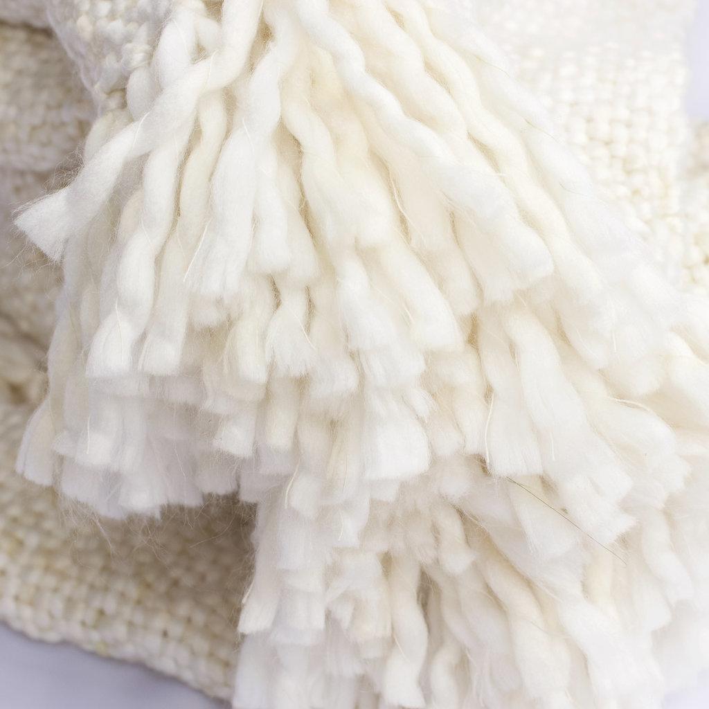 Cream Marled Basketweave Throw