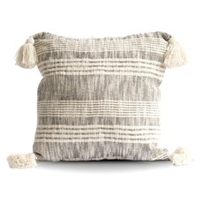 Cream & Charcoal Striped Pillow