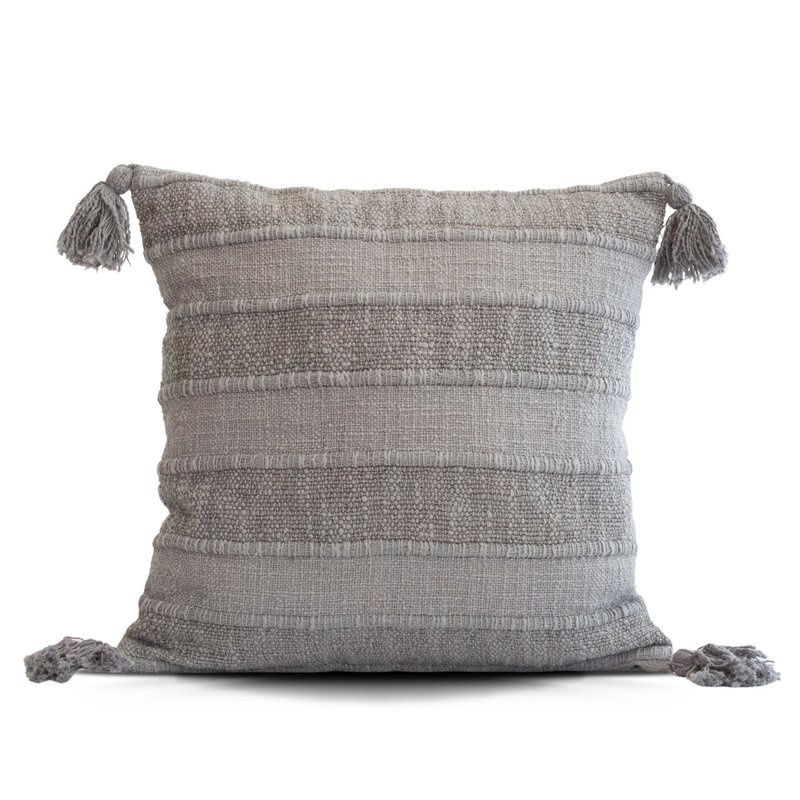 Wide Striped Grey Pillow