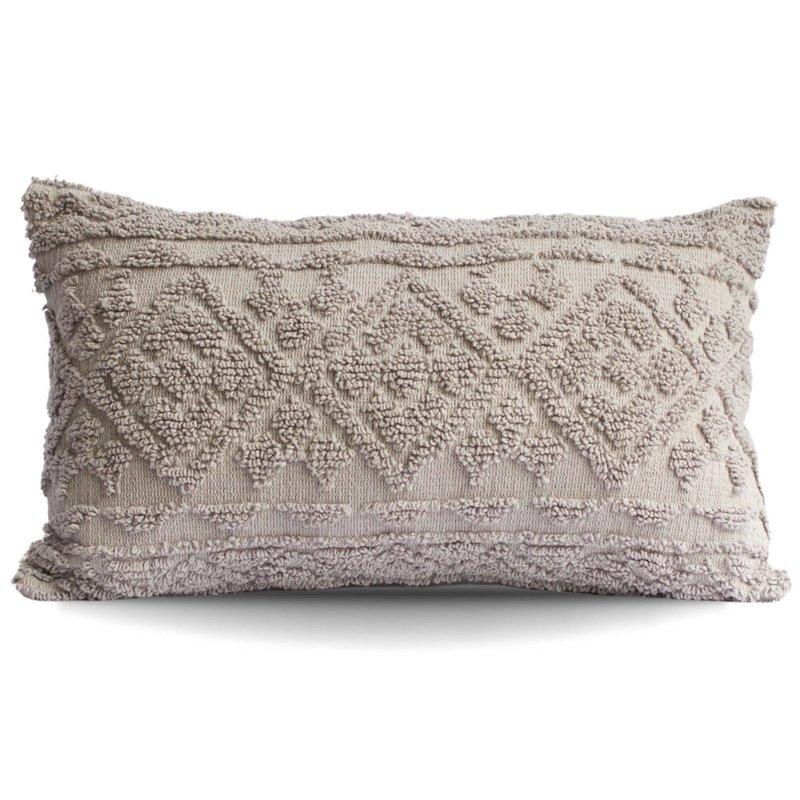 Grey Diamond Tufted Lumbar Pillow