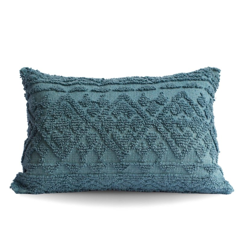 Blue Diamond Tufted Lumbar Pillow