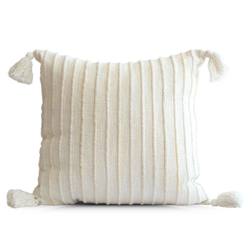 Cream Mini Stripe Tassel Pillow