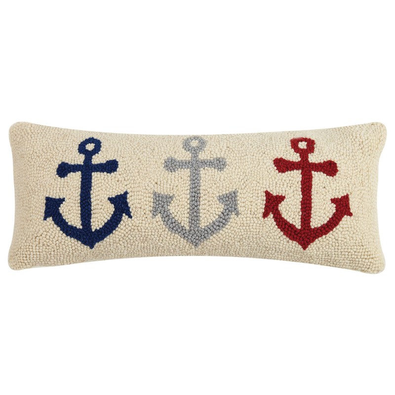 Anchor Trio Hooked Pillow