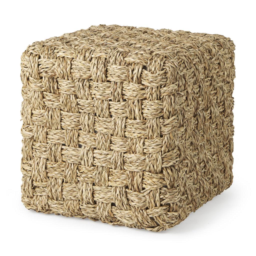 Adele Seagrass Woven Square Pouf
