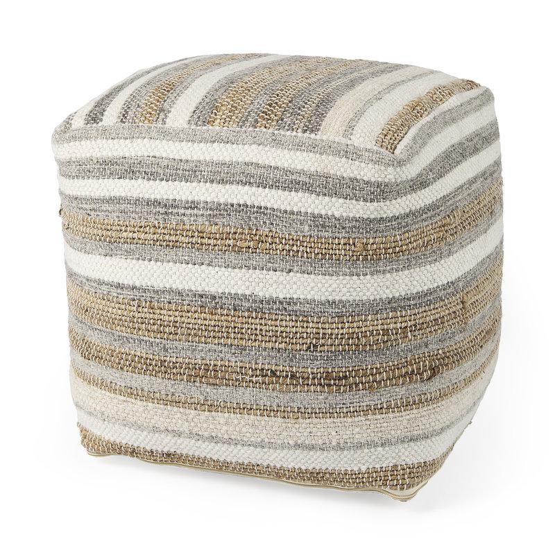 Aahana Striped Hemp and Cotton Pouf