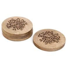 Beautiful Life Wood Coaster Set