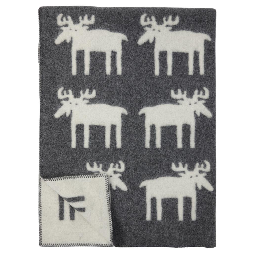 Grey Moose Wool Blanket