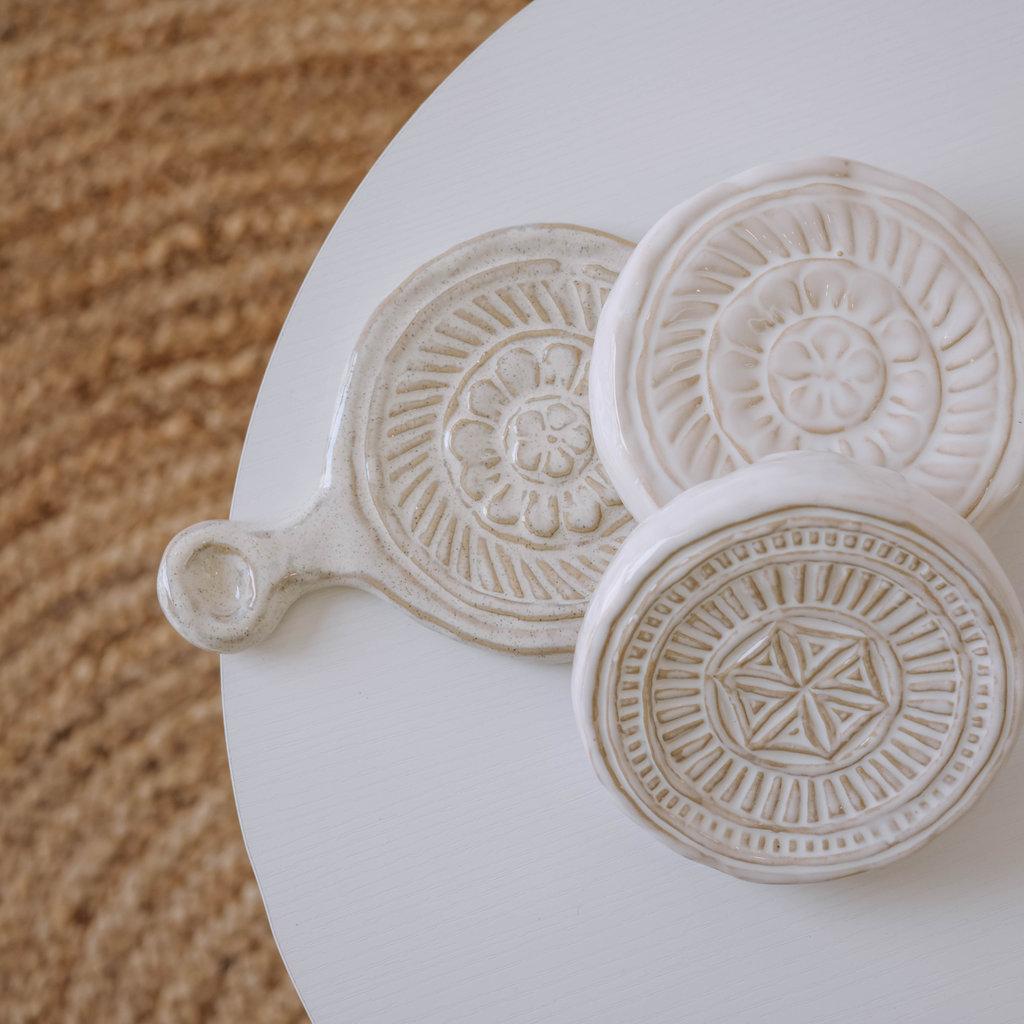 White Stoneware Trivet