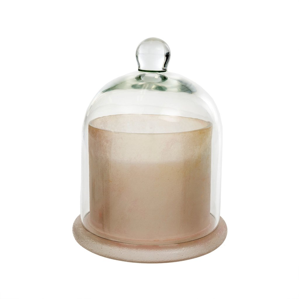 Large Frosted White Cloche Candle
