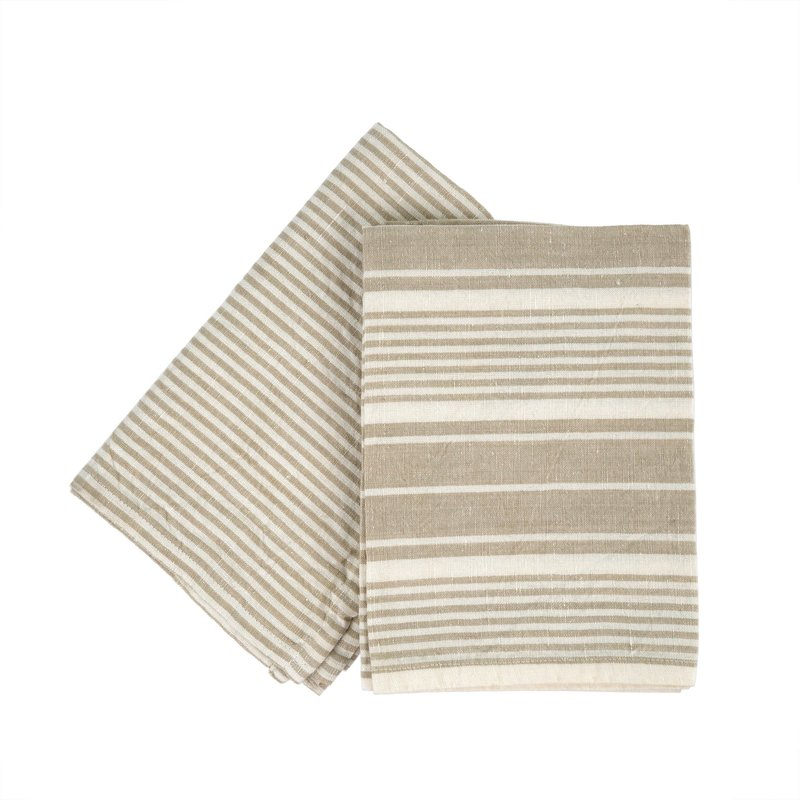 Taupe French Linen Tea Towel Set