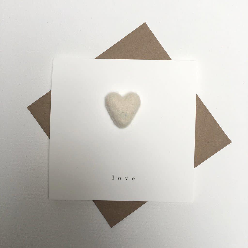 Cream Heart Love Card