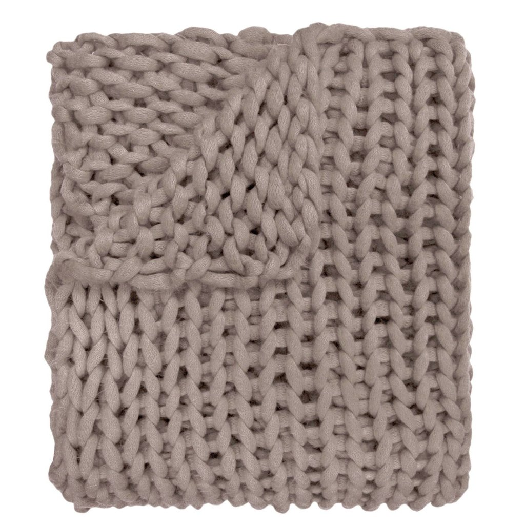 Taupe Chunky Knit Throw