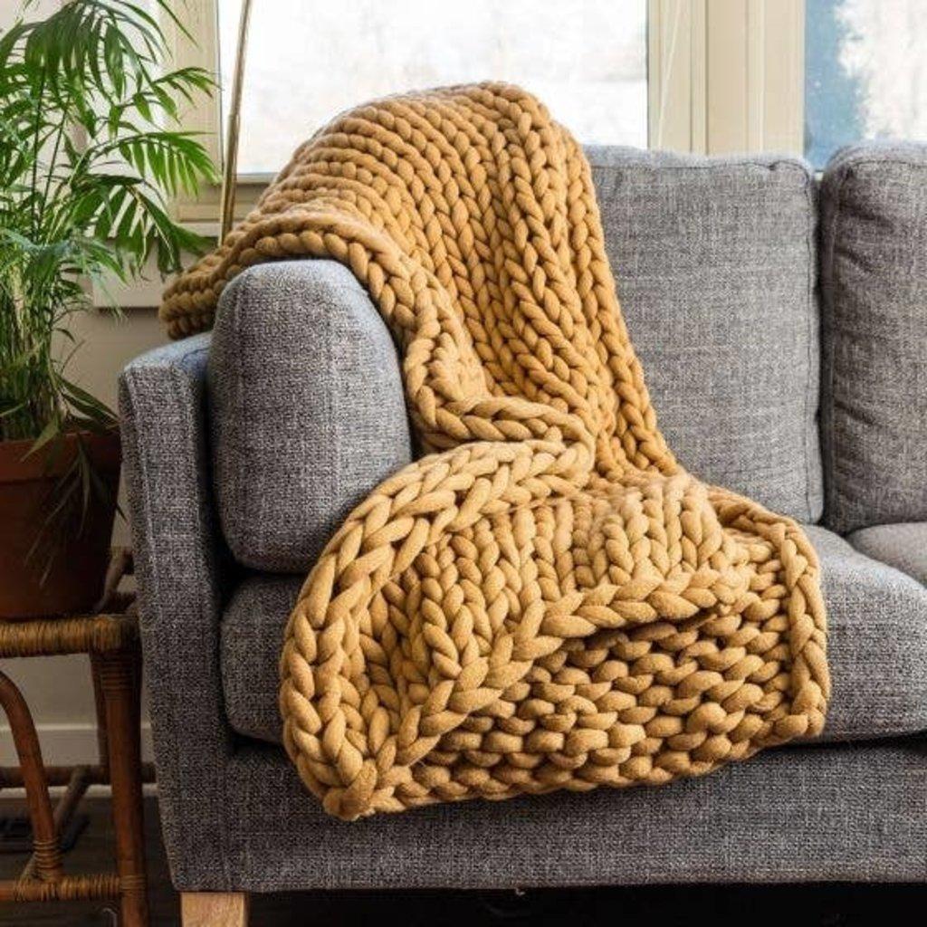 Camel Chunky Knit Throw