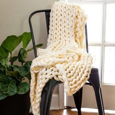 Cream Chunky Knit Throw