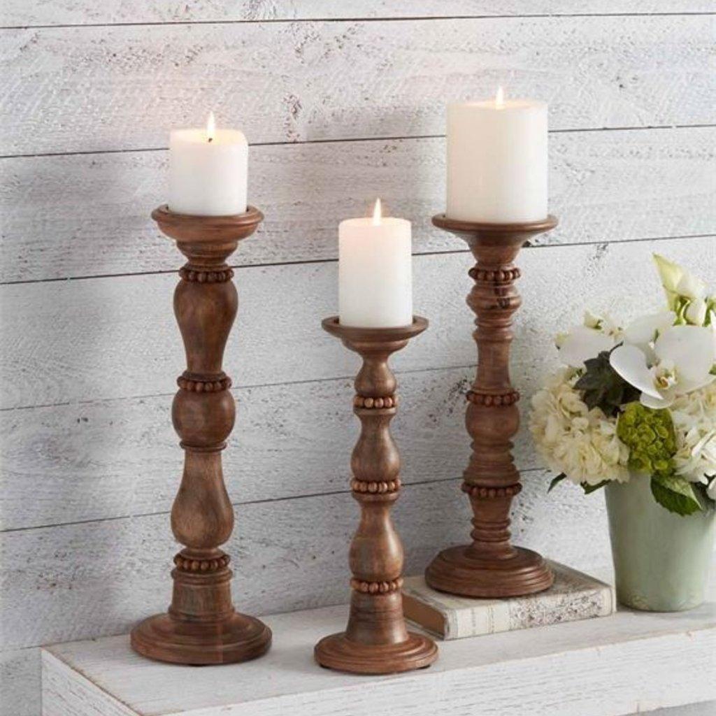 Beaded Wood Candlesticks