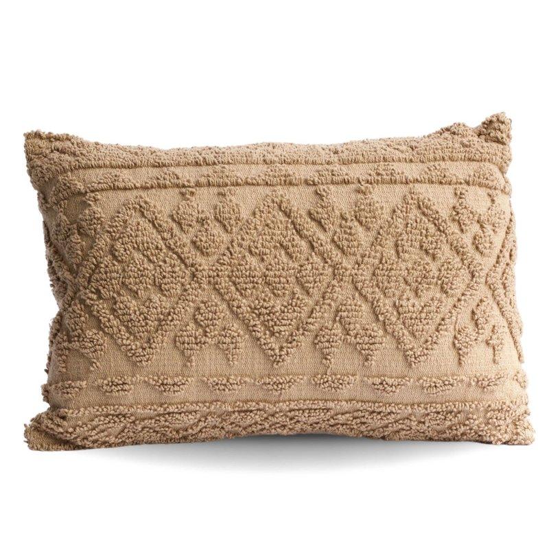 Beige Diamond Tufted Lumbar Pillow